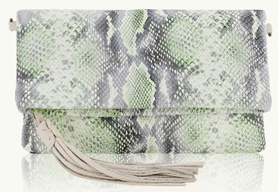 Mint Python Fold-Over Clutch