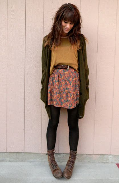 Natural Colors Outfit - Yellow Top, Patterned Skirt, Olive-drab Cardi, Gray Boots, Black Tights