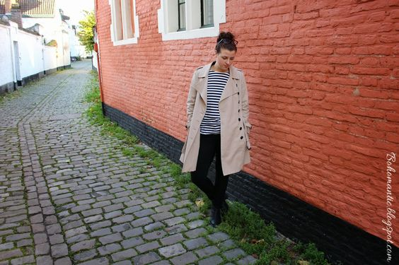 Stripes and trenchcoat.