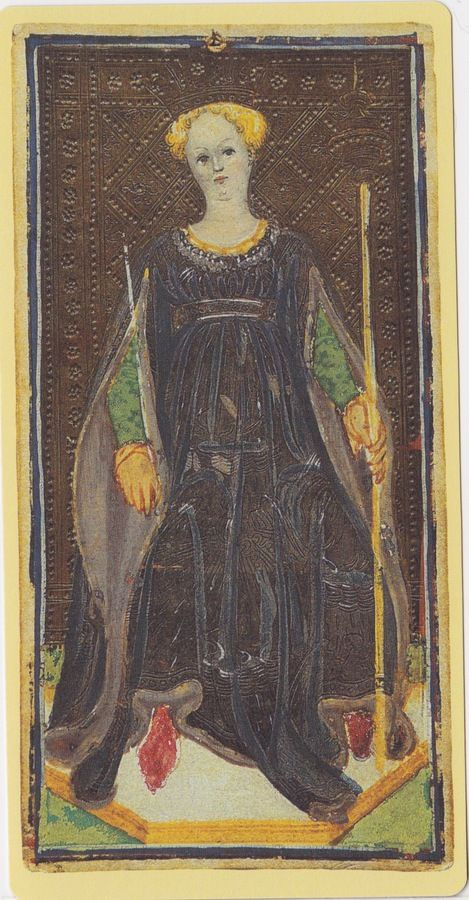 Queen of Wands -- Pierpont Morgan Visconti Sforza Tarocchi Deck, Italy, Milan, ca. 1450: