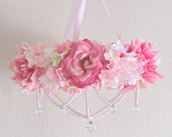baby mobile flower crib mobile floral chandelier shabby chic pink baby girl nursery decor pearls chic pink chandelier pink