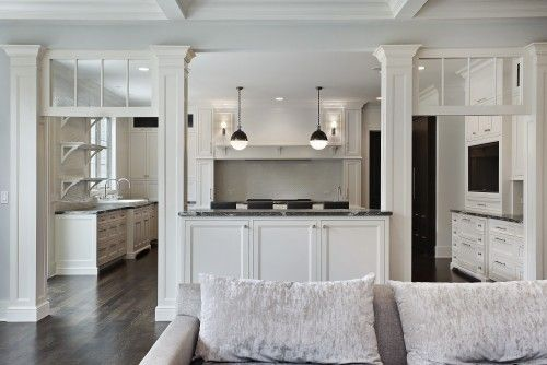 Open up wall from kitchen to living room leave counter - Pictures of columns in living room ...