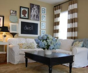 I love love love this living room. Its the nesters, she has awesome decorating ideas.: Livingroom, Living Room, Family Room, Striped Curtain, White Couch