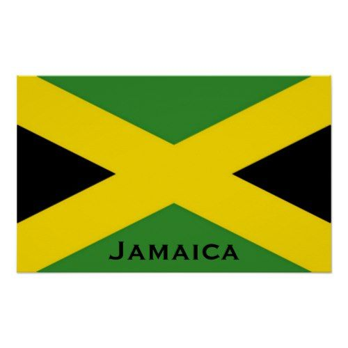 Jamaican Flag To The Edge With Jamaica Word Poster Zazzle Com Jamaican Flag Word Poster Jamaica