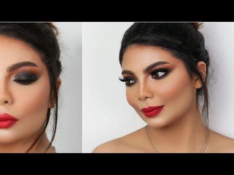 Black Smokey Eyes With Red Lips With Omar Esa مكياج سموكي اسود ثقيل و روج احمر مع عمر عيسي Youtube Make Up Makeup Artist How To Make