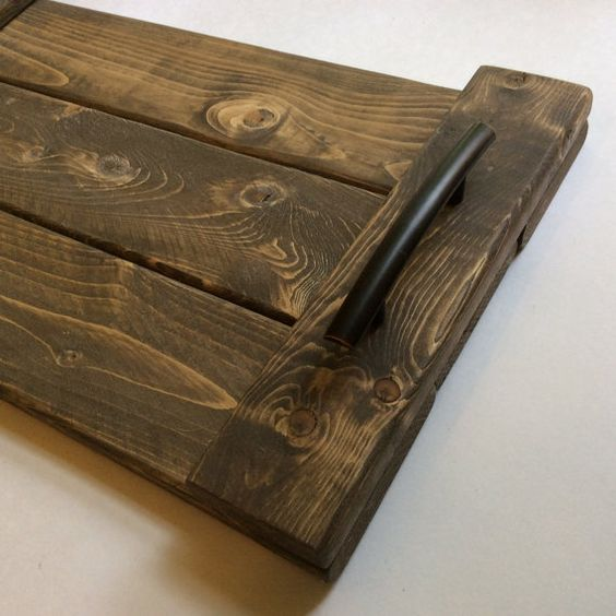 Wood Serving Tray Home Decor Accessory With Weathered