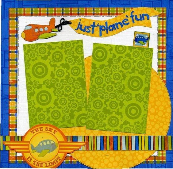12x12 Premade Scrapbook Page  Just Plane by SusansScrapbookShack, $16.95