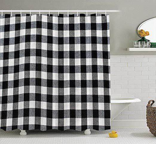 Pin By Livi Rose On Bathroom In 2020 Plaid Shower Curtain Black Curtains Shower Curtain
