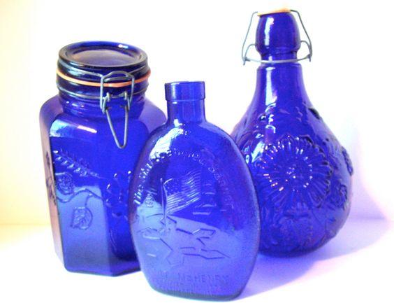 Vintage Bottles Italy Cobalt Colbalt Blue Large by jpcountrymarket, $44.00