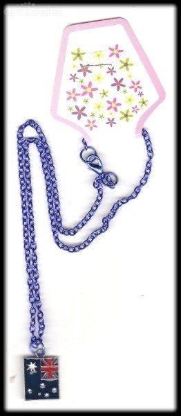 Australian Flag Charm on Blue Colour Necklace  by MadAboutIncense - $9.50