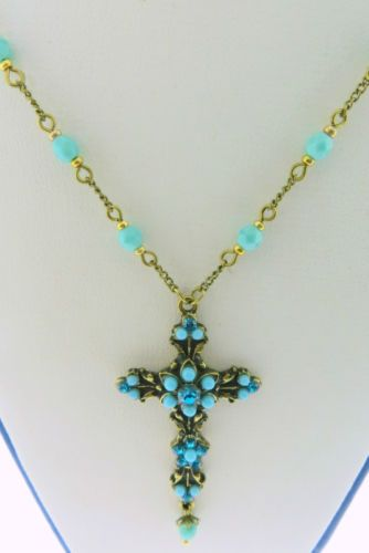 Michal-Negrin-Swarovski-Crystal-Victorian-Turquoise-Cross-Chain