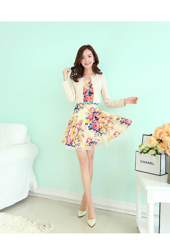 Set: Cropped Jacket + Sleeveless Floral Dress - Romantica | YESSTYLE