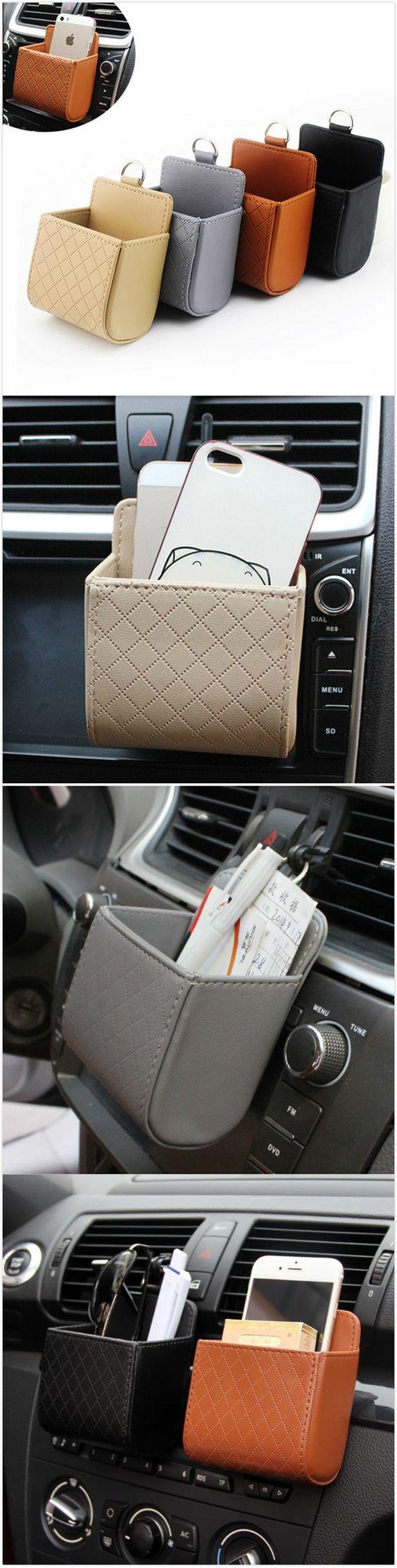 [$ 4.28] Auto Air Vent Car Storage Bag Multi-functional Pu Phone Bag Ditty Bag