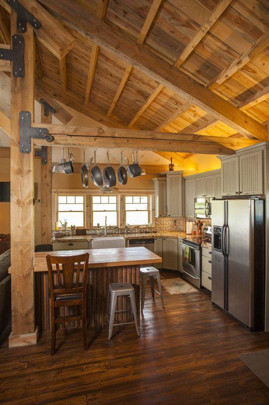 Barn Home Kitchen - Functional Layout www.sandcreekpostandbeam.com ...