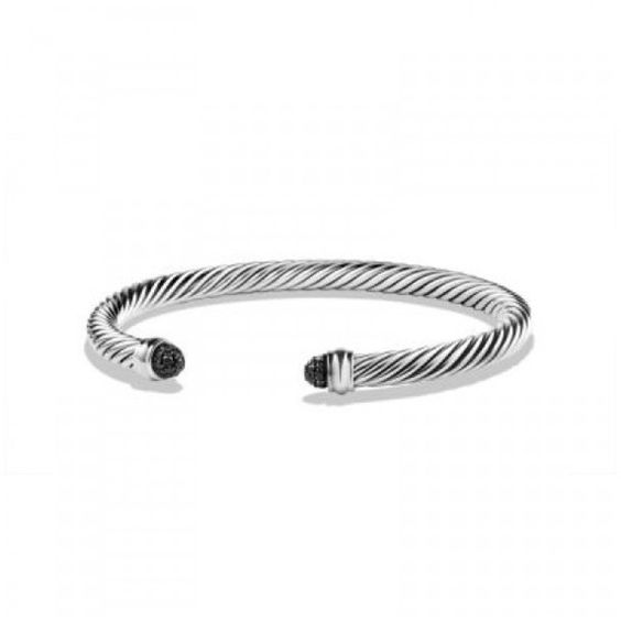 Pre-owned David Yurman Sterling Silver & Black Diamond Cable Bracelet... ($455) ❤ liked on Polyvore featuring jewelry, bracelets, david yurman, sterling silver bangles, sterling silver jewelry, black diamond bangle and david yurman jewellery