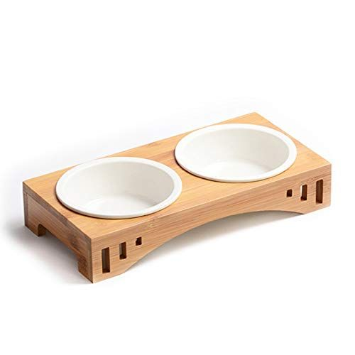 Petilleur Pet Bowls Raised Wooden Stand Pet Dining Table With Ceramic Bowls Cat Bowls With Bamboo Stand For Dogs Cats And Puppy Pet Bowls Cat Bowls Pet Bowls Stand