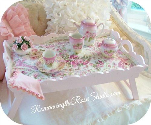 Shabby Mosaic Bed Tray-mosaic, bed tray, bed tray, pink roses, vintage china, pink rose china, Limoges china, pink rose Limoges,