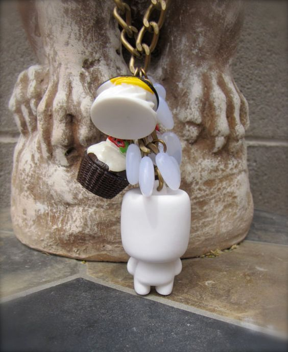Mr Marshmallow Man Necklace by StarfishStratagies on Etsy, $25.00