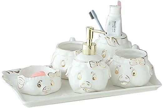 Tellgoy 6 Pcs Bath Accessories Set Luxury European Ceramics Bathroom Accessories Set With T Bathroom Accessories Sets Bathroom Decor Sets Bath Accessories Set