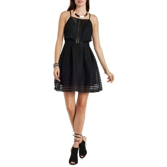 Charlotte Russe Black Ark & Co Tiered Mesh Skater Dress by Charlotte... ($87) ❤ liked on Polyvore featuring dresses, black, short black cocktail dresses, black tie cocktail dress, short black dresses, sheer mini dress and see through dress