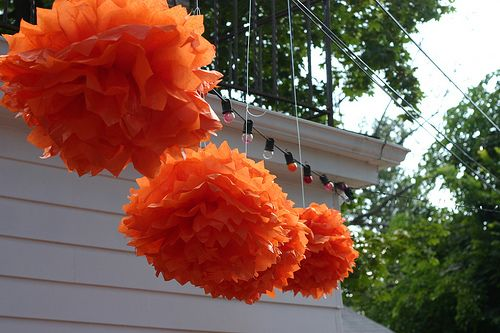How to make poof balls...for displaying colors in classroom if you attach a hanging color sign to the bottom