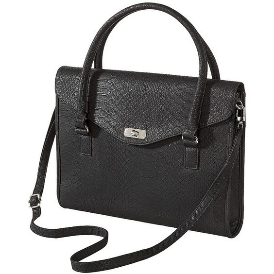 Look classy and professional with your laptop in tow with the Merona Solid Black Laptop Tote Handbag. This black handbag has both double shoulder loops and a removable, adjustable crossbody strap so you can carry your bag how you want depending on the situation or your load. The laptop purse has interior and exterior zip pockets perfect for carrying extras.Great for school, work or everyday.$29.99 SEE DETAILS HERE: http://www.designerhandbagspurses.net/brief-cases-and-laptop-bags/