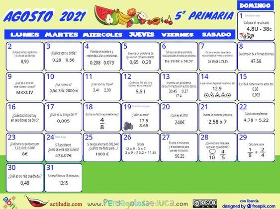 Calendario Quinto ABN – Agosto 2021