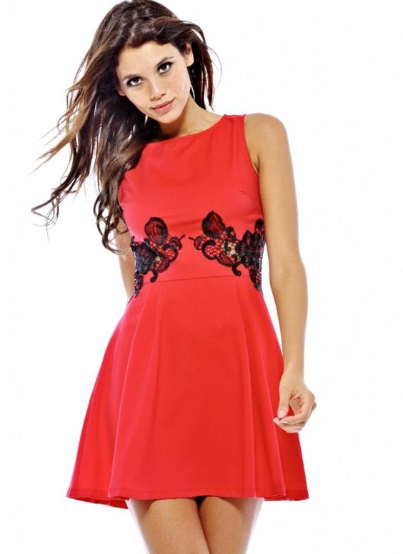 Red Party Dress - Red Sleeveless Skater Dress with | UsTrendy