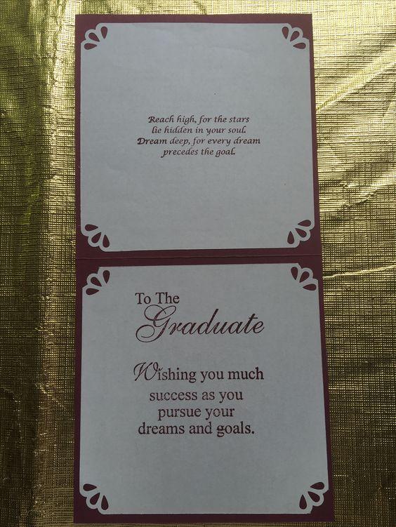 Inside of Graduation card for my niece's h.s. graduation
