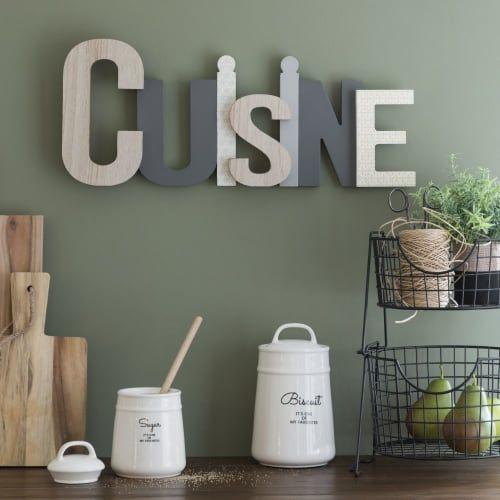 Mot Deco Murale Gris Et Blanc 55x23 Cuisine Maisons Du Monde Objet Deco Cuisine Deco Cuisine Grise Deco Murale