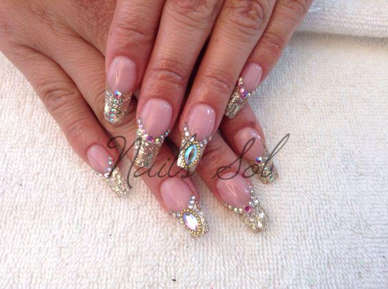 Gold nails. Swarosky stileto
