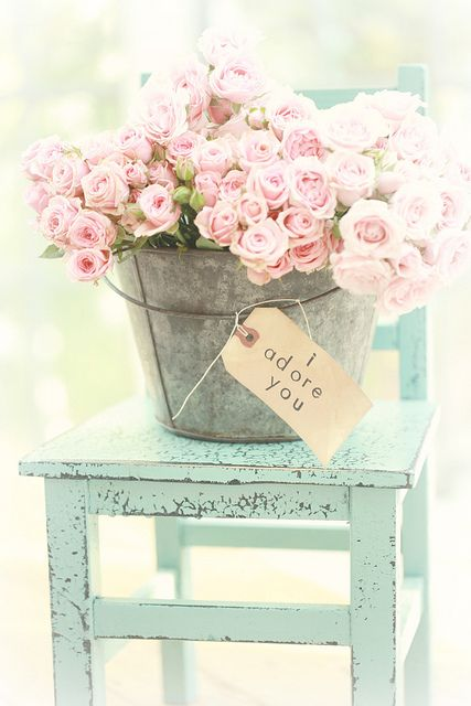 Vintage, shabby chic flower arrangement, shabby chic furniture, cottage decor: