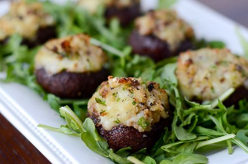 Crab and Brie Stuffed Mushrooms