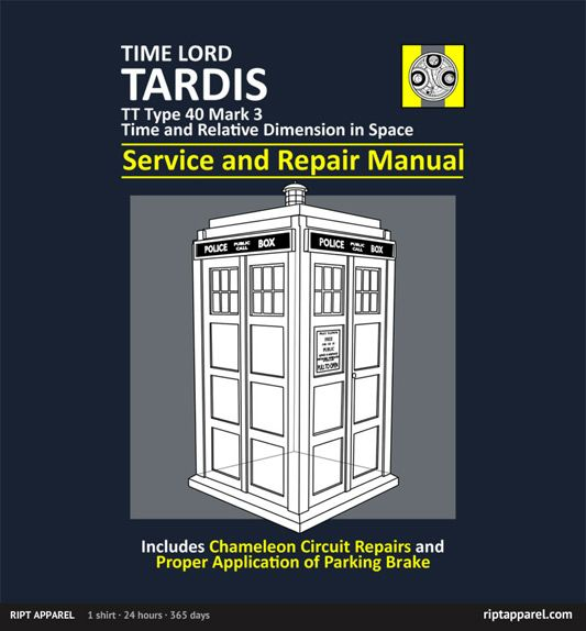 Tardis Service and Repair Manual t-shirt from RIPT apparel