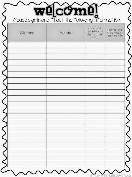 Meet the teacher the teacher and sign in sheet on pinterest for Back to school sign in sheet template