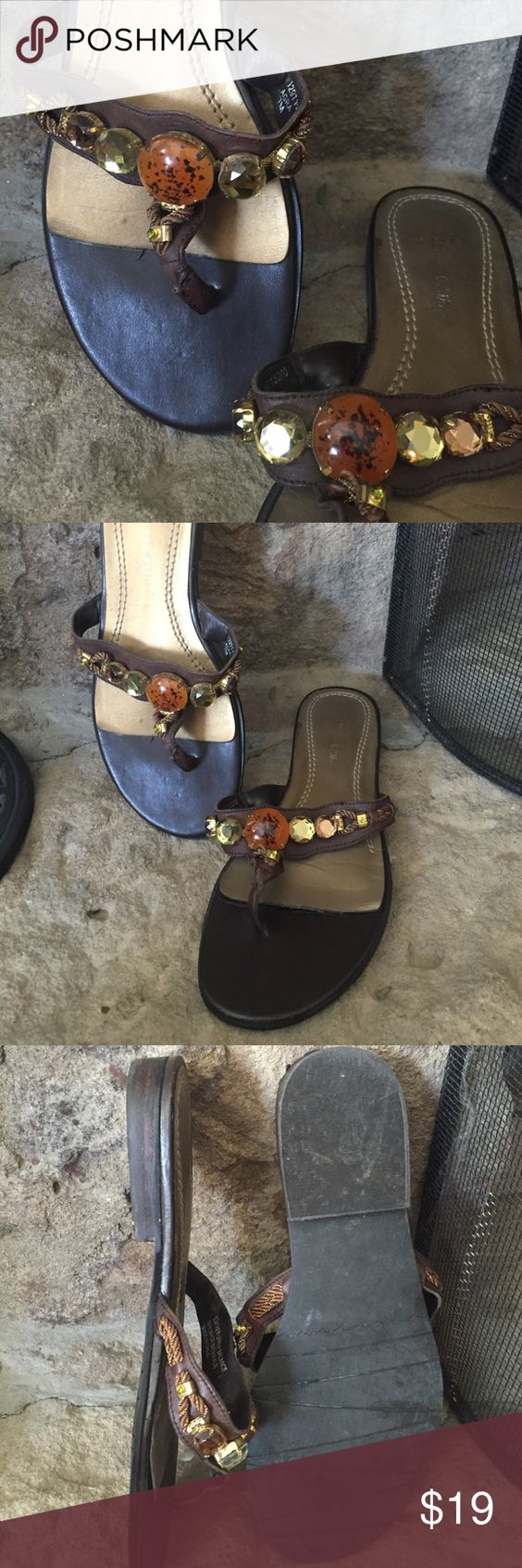 Etienne Aigner sandals These are pre loved, worn and have some scuffs, as you can see on the very front. But they are so cute and comfortable that I thought someone may want the second half of their life for a really good price. 😃 Top part is leather. Broken in and comfy. All beads are in place. Etienne Aigner Shoes Sandals