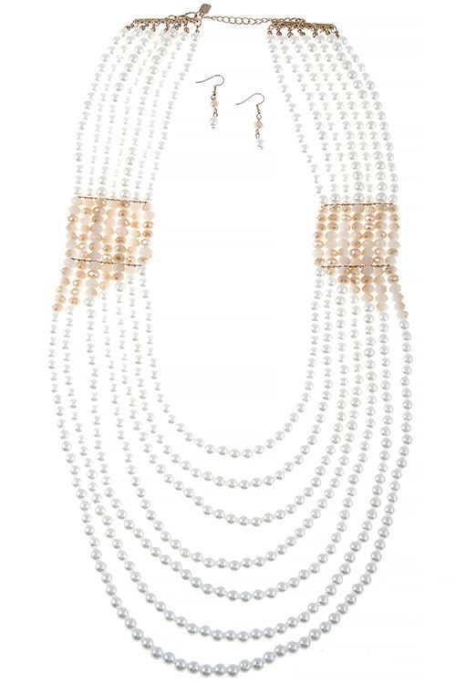 FAUX PEARL FACETED BEAD DRAPED NECKLACE SET