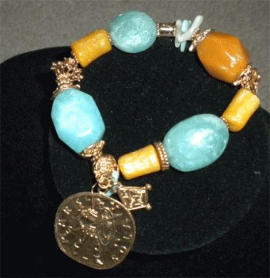 Medallion Charm Bracelet with lovely Turquoise Beads Only $9.25 with Free Shipping!