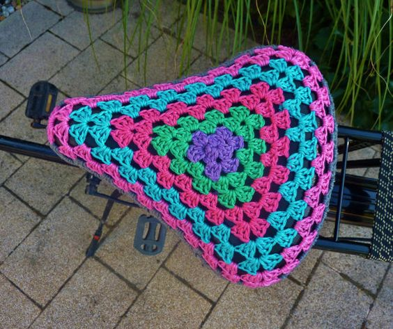 Bike Saddle Cover Crochet Seat Cover by FromJeanne