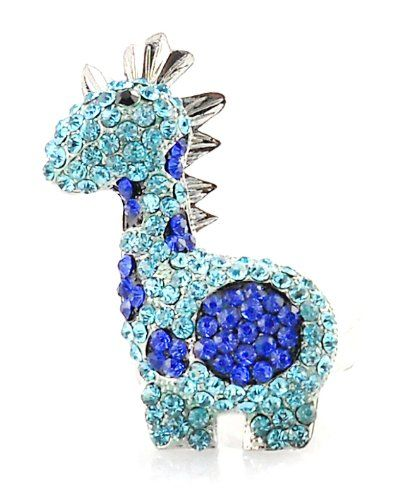 Little Baby Blue Giraffe Pave Crystal 3D Stretch Ring