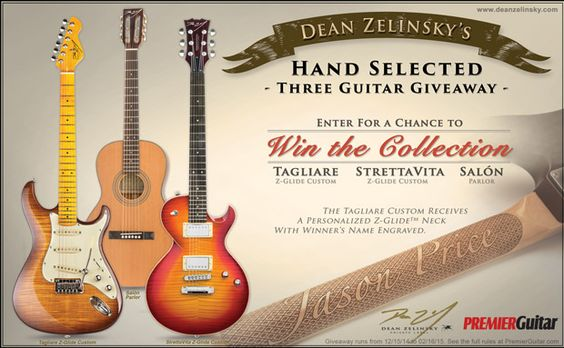 Enter for your chance to win a Tagliare, StrettaVita, and Salon from Dean Zelinsky Private Label Guitars! Total retail value $2,577. One winner will recieve all three guitars Exp. 02/16/2015