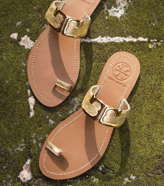 Metallic Gold Ring Slide Sandals