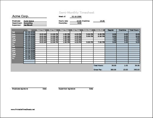 Weekly Timesheet (horizontal orientation) with breaktime column - printing excel spreadsheets
