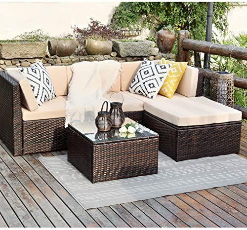 Tuoze 5 Pieces Patio Furniture Sectional Set Outdoor