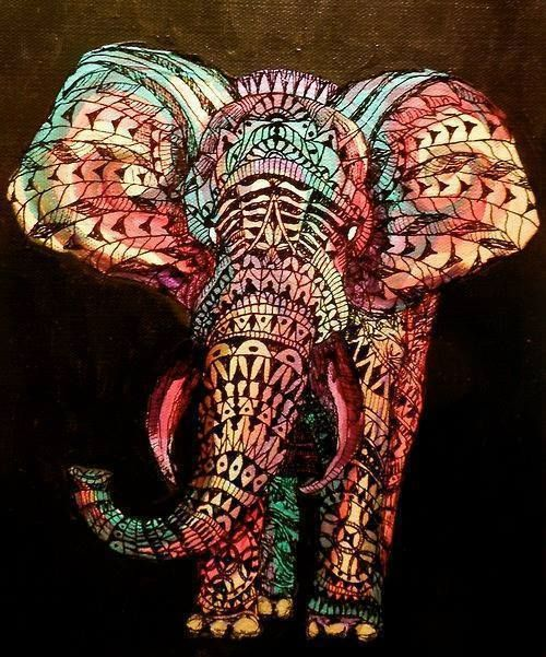 Elephant drawing #tribal #colorful | Artsy | Pinterest ...