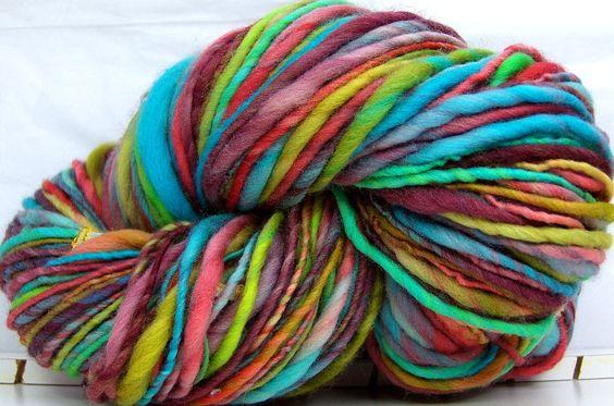 HandSpun Yarn merino wool single ply Taos Rainbow 143 yards thicknthin merino yarn. $35.00, via Etsy.