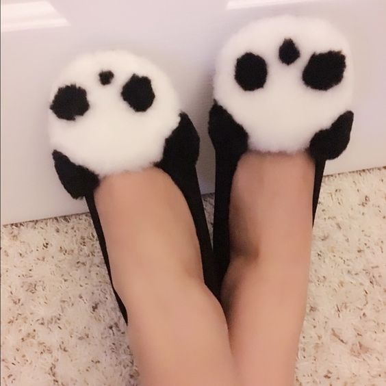 Fuzzy panda flats Brand new never been worn panda flats! Got as a gift but they're a little small. Size is 37 Asian size but I usually wear a 6.5 US Shoes Flats & Loafers