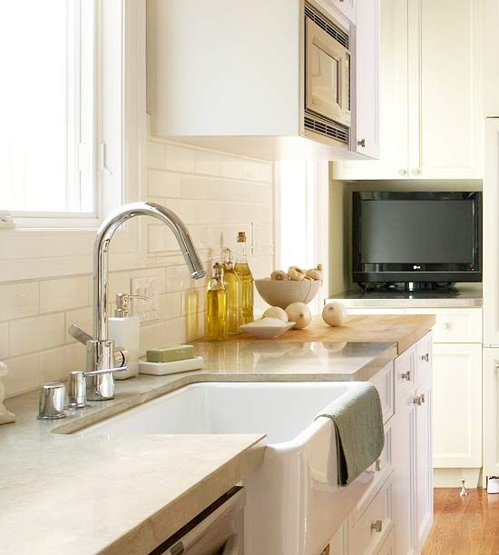 Honed limestone and butcher block