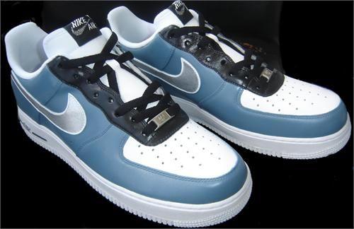 www.hiphopcloset.com - REMIXDAKICKZ Blue Gray Silver Custom Painted AF1 Sneakers