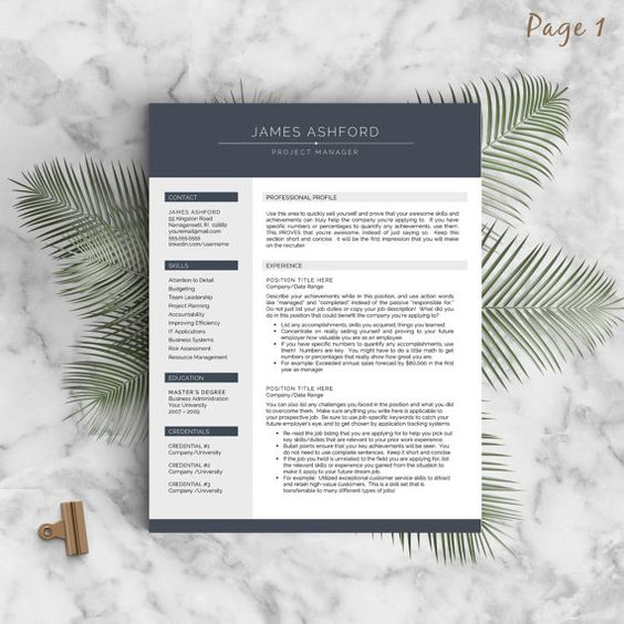 Modern Resume Template for Word, 1-3 Page Resume + Cover Letter + Tips   US Letter & A4   Modern Cv Template    INSTANT DOWNLOAD